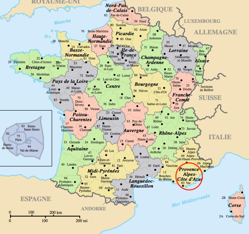 departements en France, Var