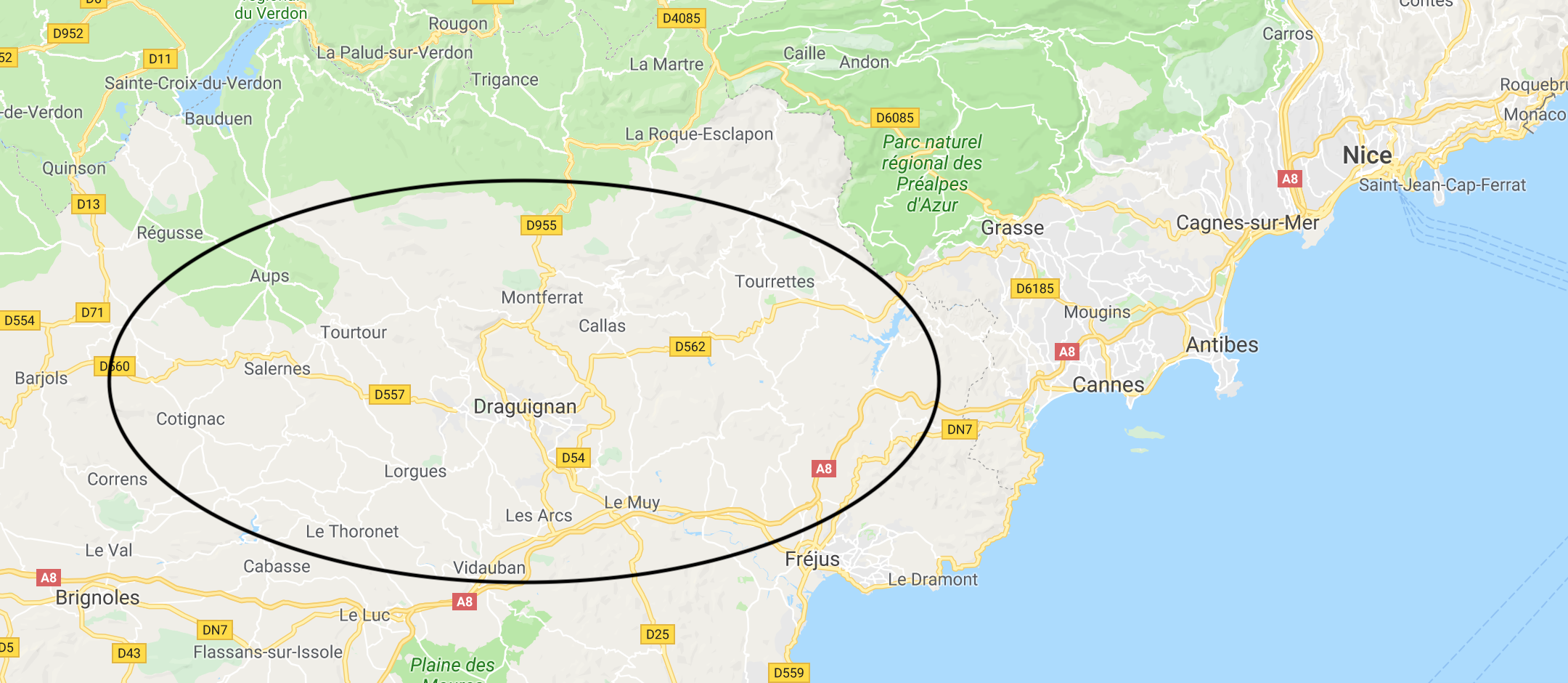 Map of househunt area, Nice:Draguignan