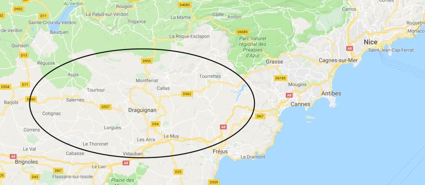 Map of househunt area, Nice:Draguignan